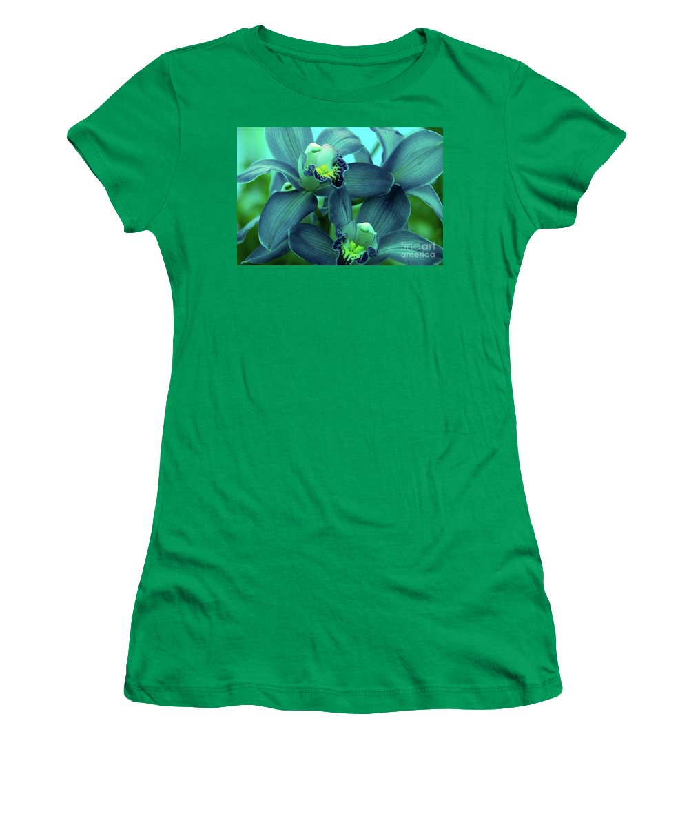 Orchids Women's T-Shirt (Athletic Fit) featuring the photograph Look At Me by Susanne Van Hulst