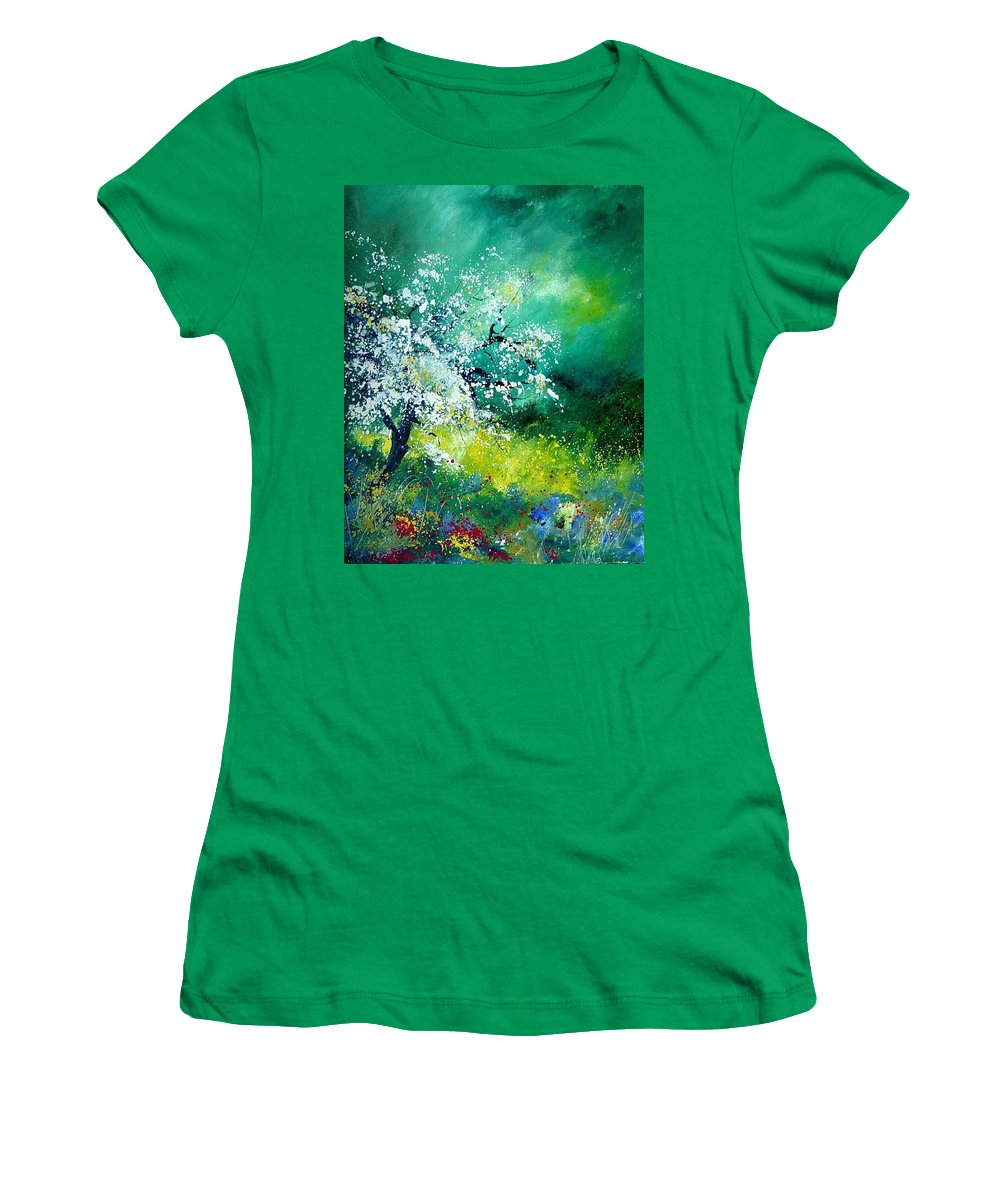 Flowers Women's T-Shirt (Athletic Fit) featuring the painting Spring by Pol Ledent