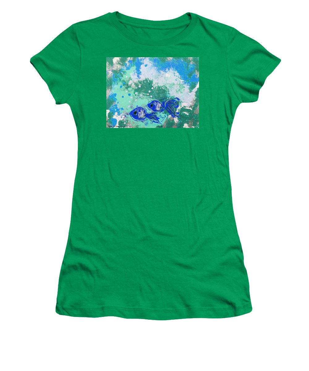Fish Women's T-Shirt featuring the painting 2 Blue Fish by Gina De Gorna