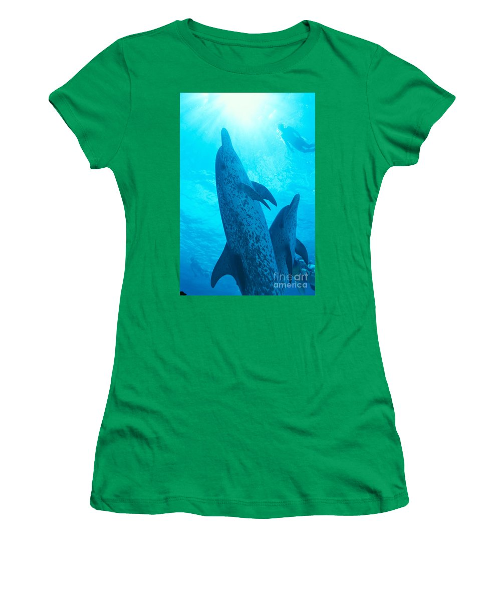Animal Art Women's T-Shirt featuring the photograph Pair Of Spotted Dolphins by Ed Robinson - Printscapes