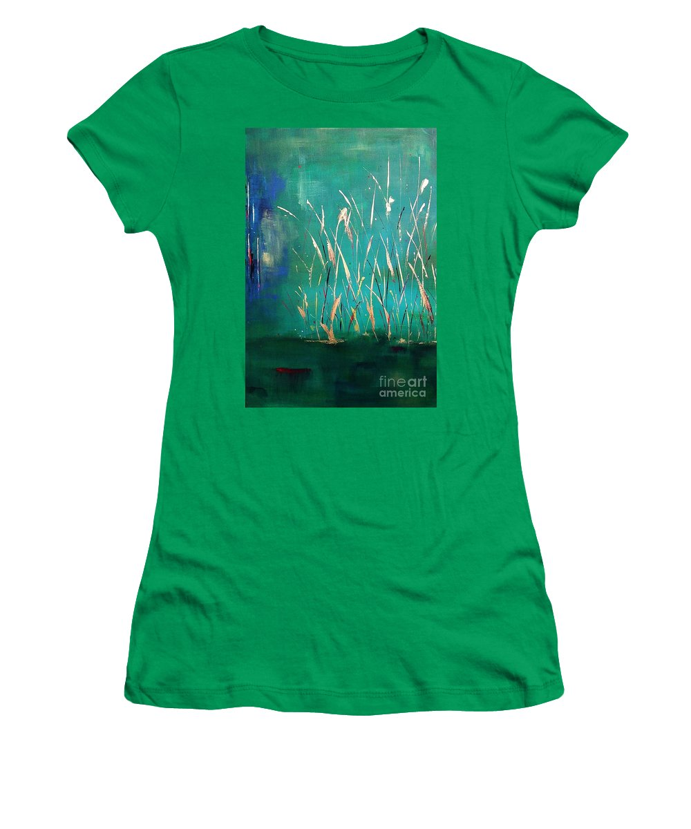 Abstract Landscape Women's T-Shirt (Athletic Fit) featuring the painting A Touch Of Teal by Frances Marino