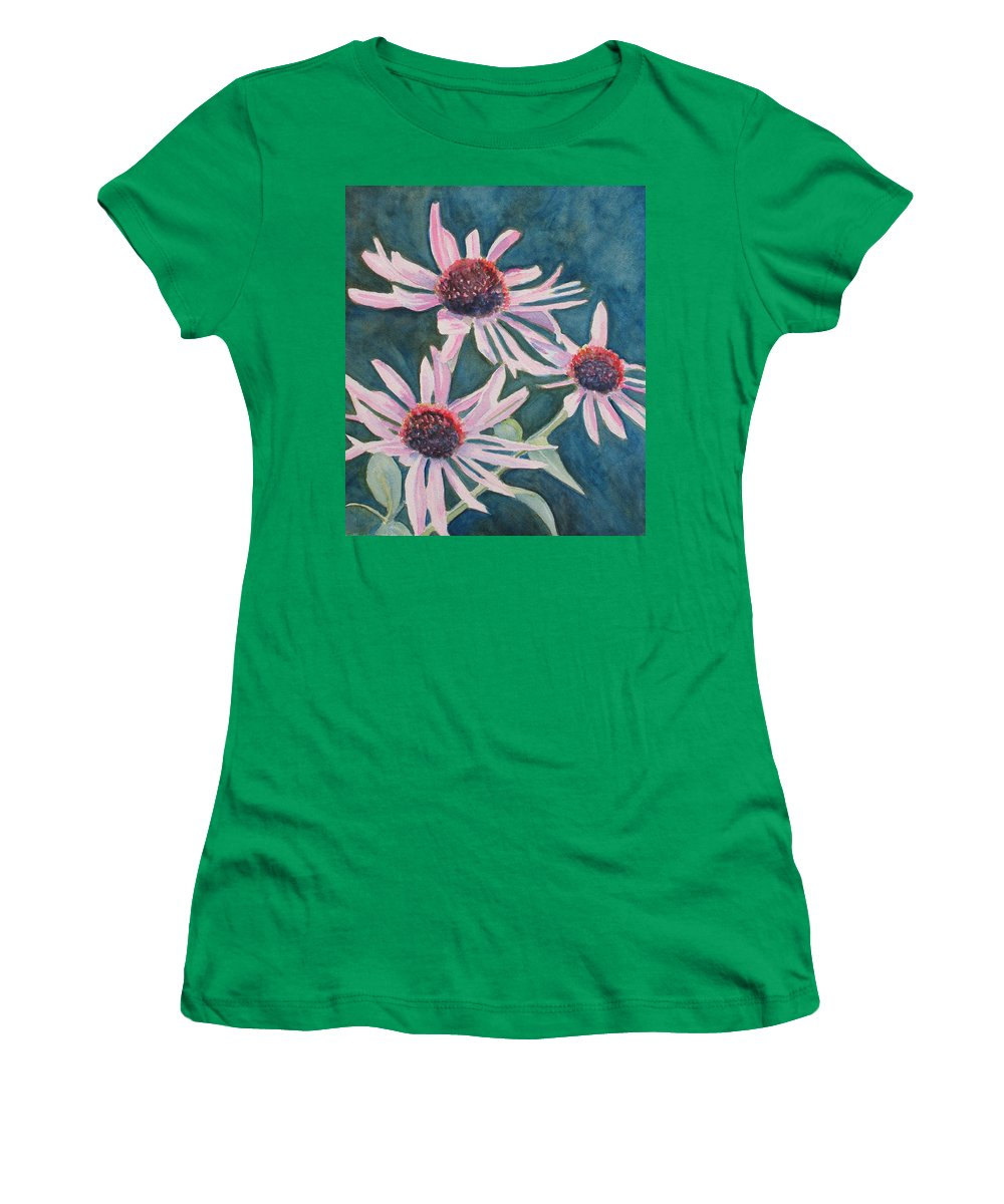 Coneflowers Women's T-Shirt featuring the painting Afterglow II by Jenny Armitage