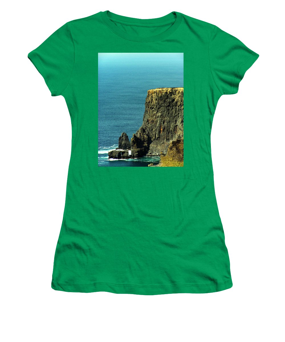 Irish Women's T-Shirt (Athletic Fit) featuring the photograph Aill Na Searrach Cliffs Of Moher Ireland by Teresa Mucha