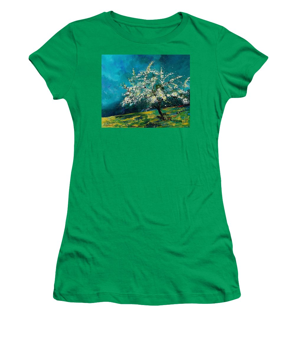 Spring Women's T-Shirt (Athletic Fit) featuring the painting Appletree In Spring by Pol Ledent