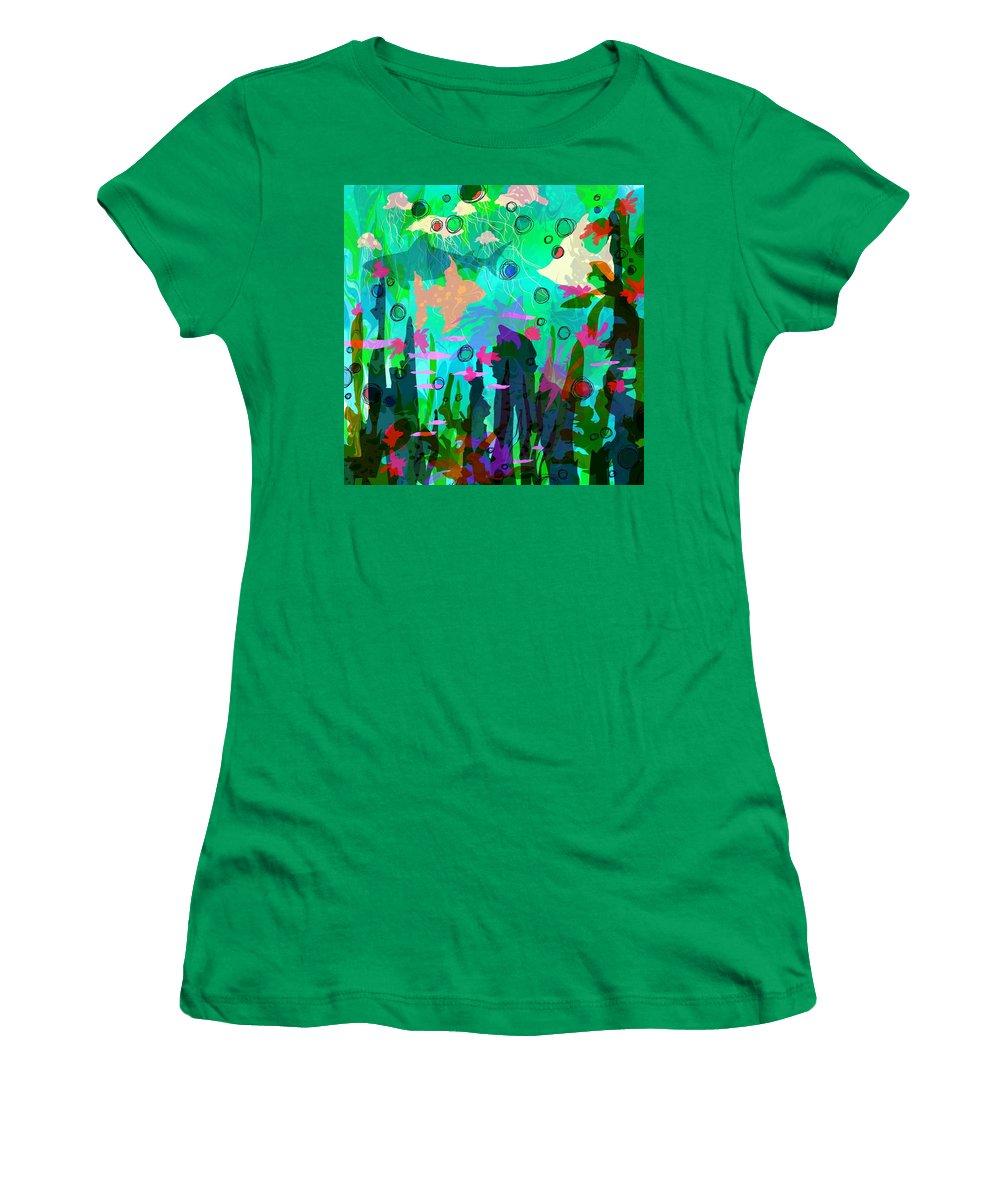Abstract Women's T-Shirt featuring the digital art Aquaphoria by Rachel Christine Nowicki