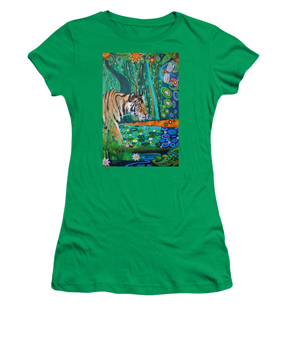 Tiger Women's T-Shirt featuring the painting Bengal Tiger And Dragonfly by Mark Betson