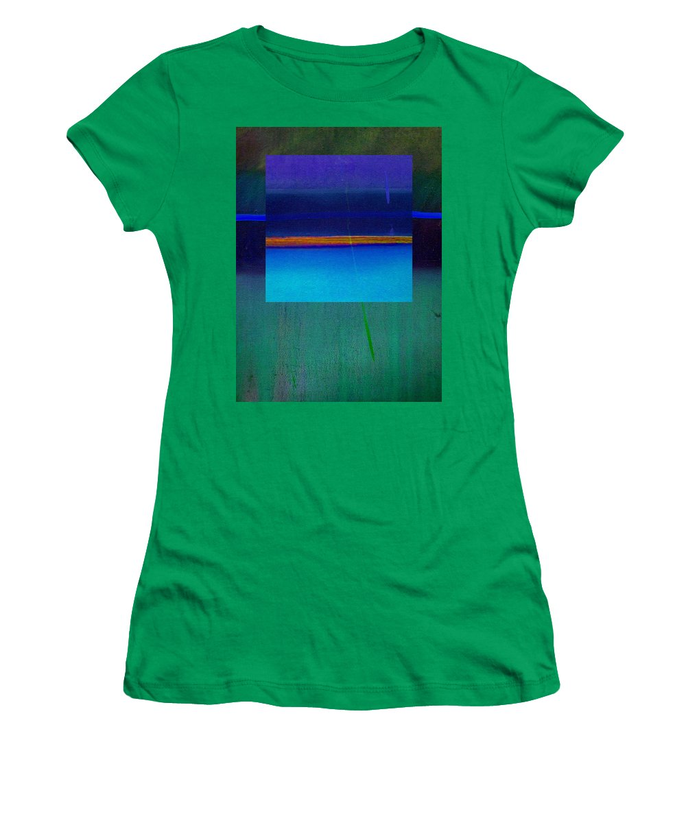 Landscape Women's T-Shirt (Athletic Fit) featuring the painting Blue Water by Charles Stuart