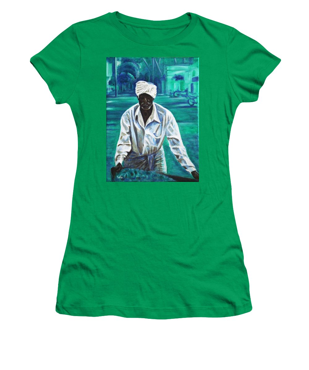 Indian Women's T-Shirt (Athletic Fit) featuring the painting Cart Vendor by Usha Shantharam