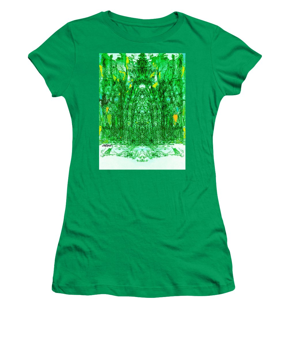 Cathedral Women's T-Shirt featuring the digital art Cathedral Of Trees by Seth Weaver