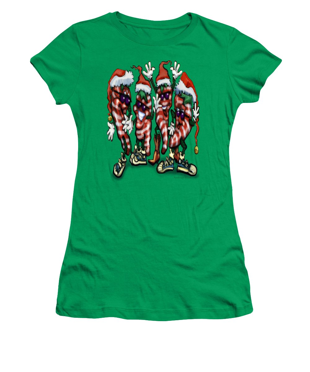 Christmas Women's T-Shirt featuring the digital art Christmas Candy Peppers Gang by Kevin Middleton