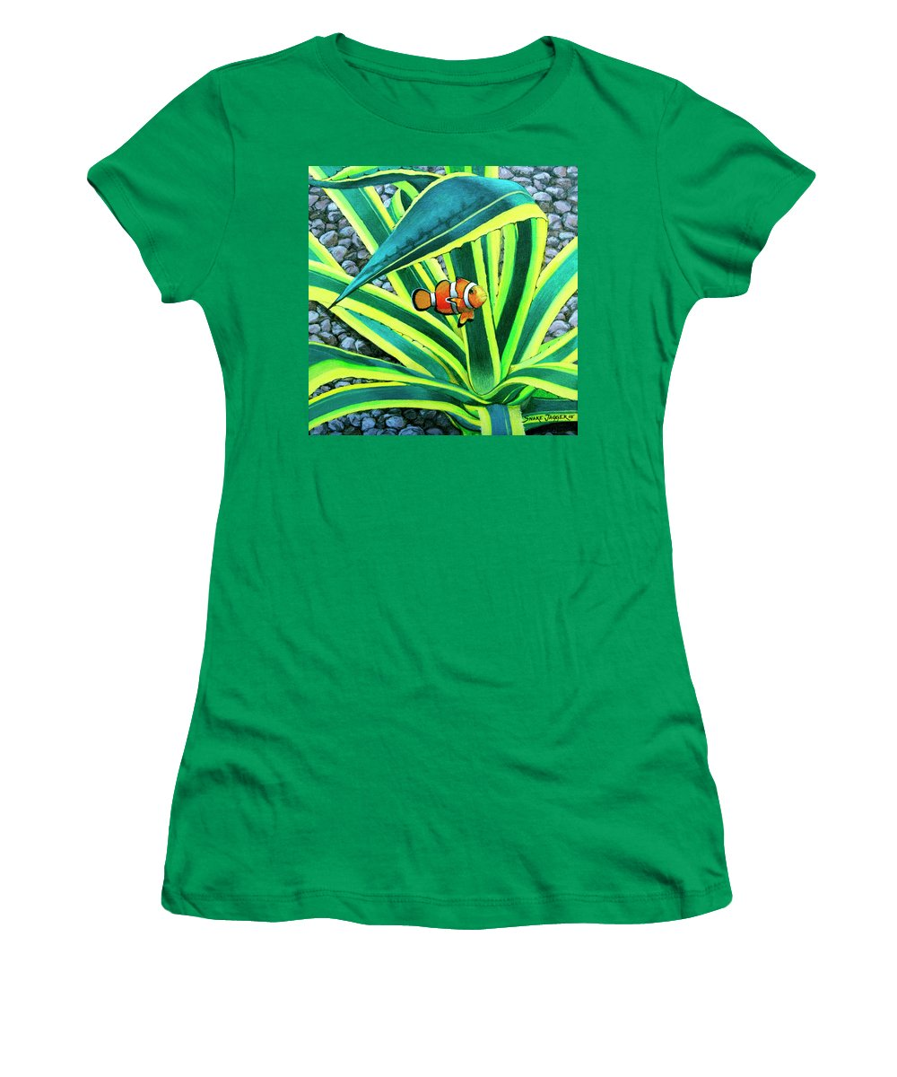 Fish Women's T-Shirt featuring the painting Clownfish by Snake Jagger