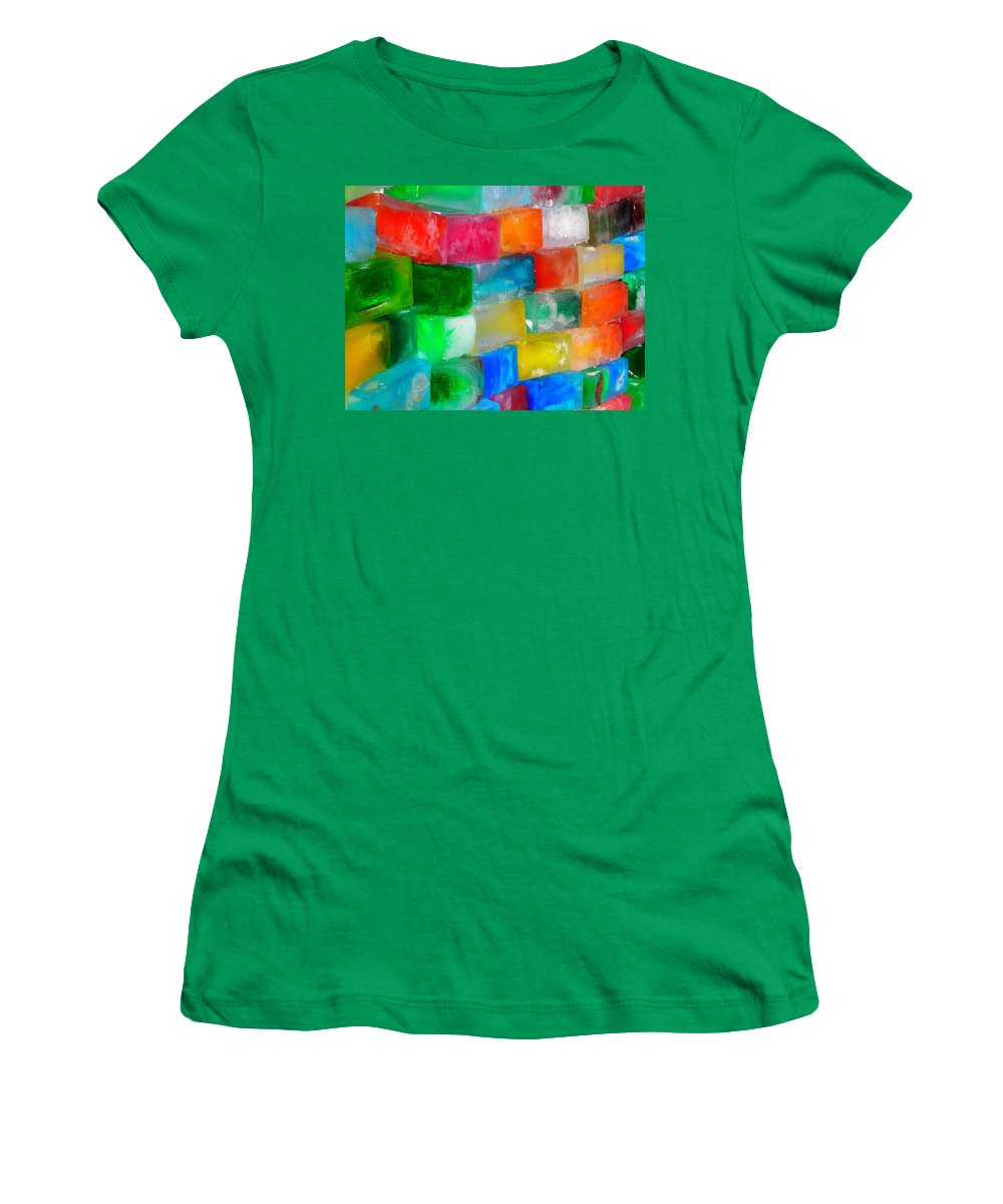 Wall Women's T-Shirt featuring the photograph Colored Ice Bricks by Juergen Weiss