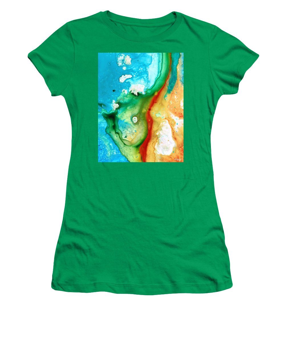 Abstract Women's T-Shirt (Athletic Fit) featuring the painting Colorful Abstract Art - Captured - By Sharon Cummings by Sharon Cummings