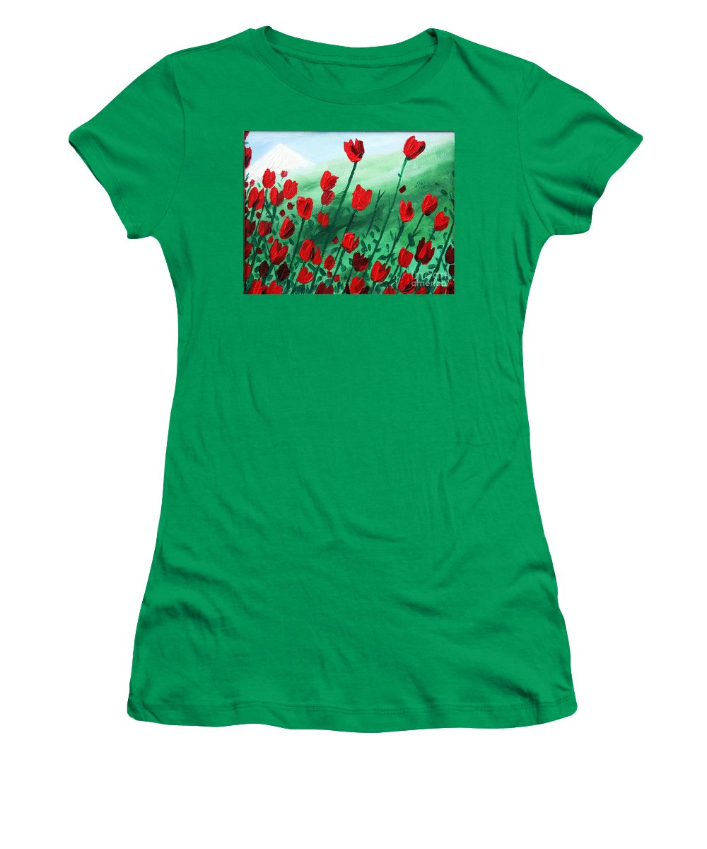 Damavand Mountain Women's T-Shirt (Athletic Fit) featuring the painting Damavand by Masoud Farshchi
