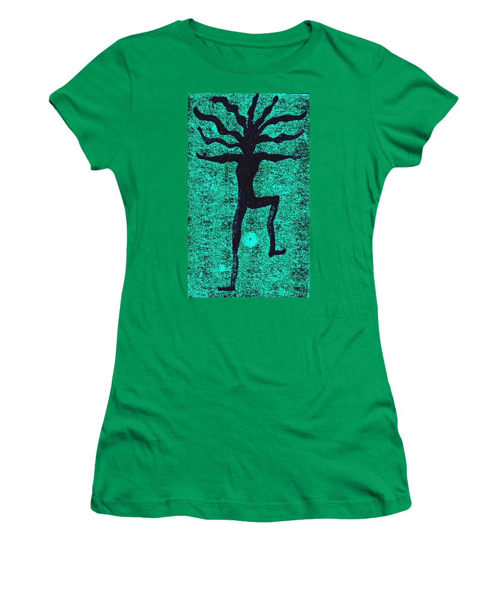 Dance Women's T-Shirt (Athletic Fit) featuring the painting Dancing At The Creation Of The Green Earth by Wayne Potrafka
