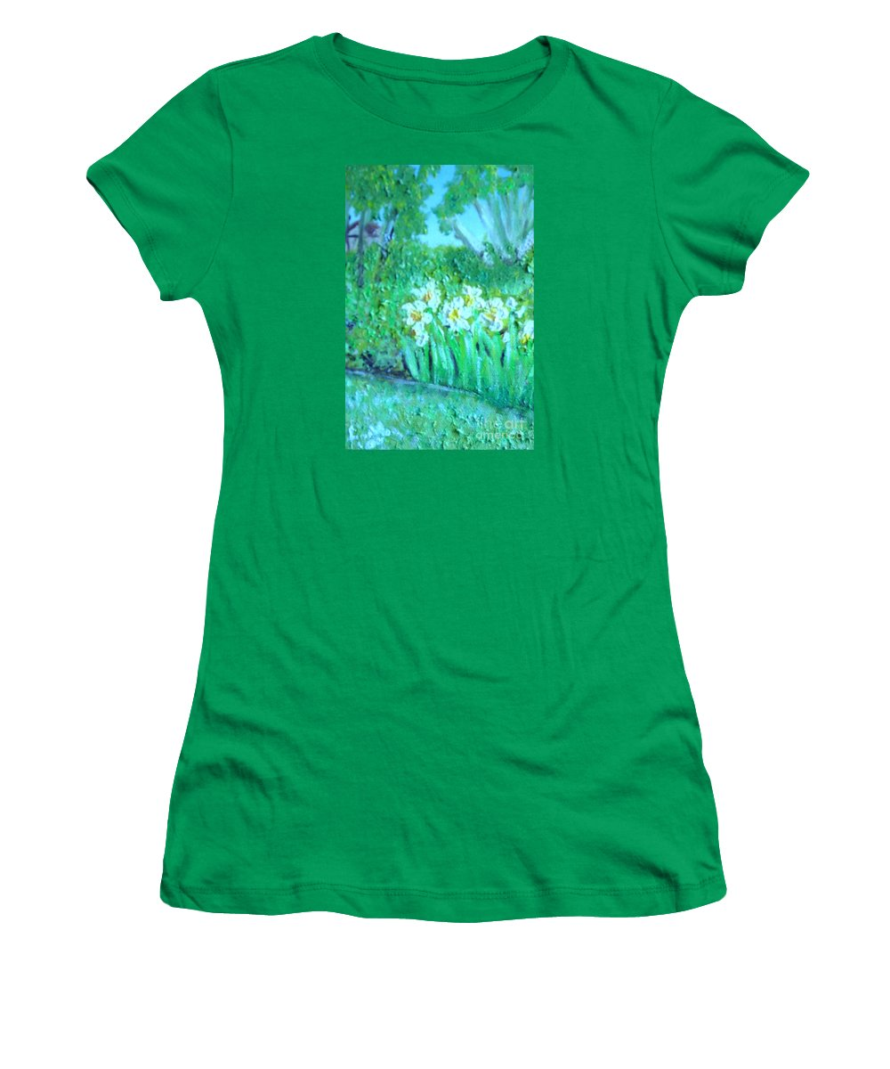 Daffodils Women's T-Shirt (Athletic Fit) featuring the painting Dependable Daffodils by Laurie Morgan