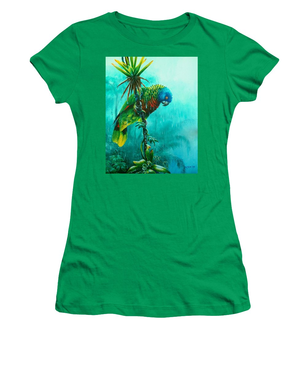 Chris Cox Women's T-Shirt (Athletic Fit) featuring the painting Drenched - St. Lucia Parrot by Christopher Cox