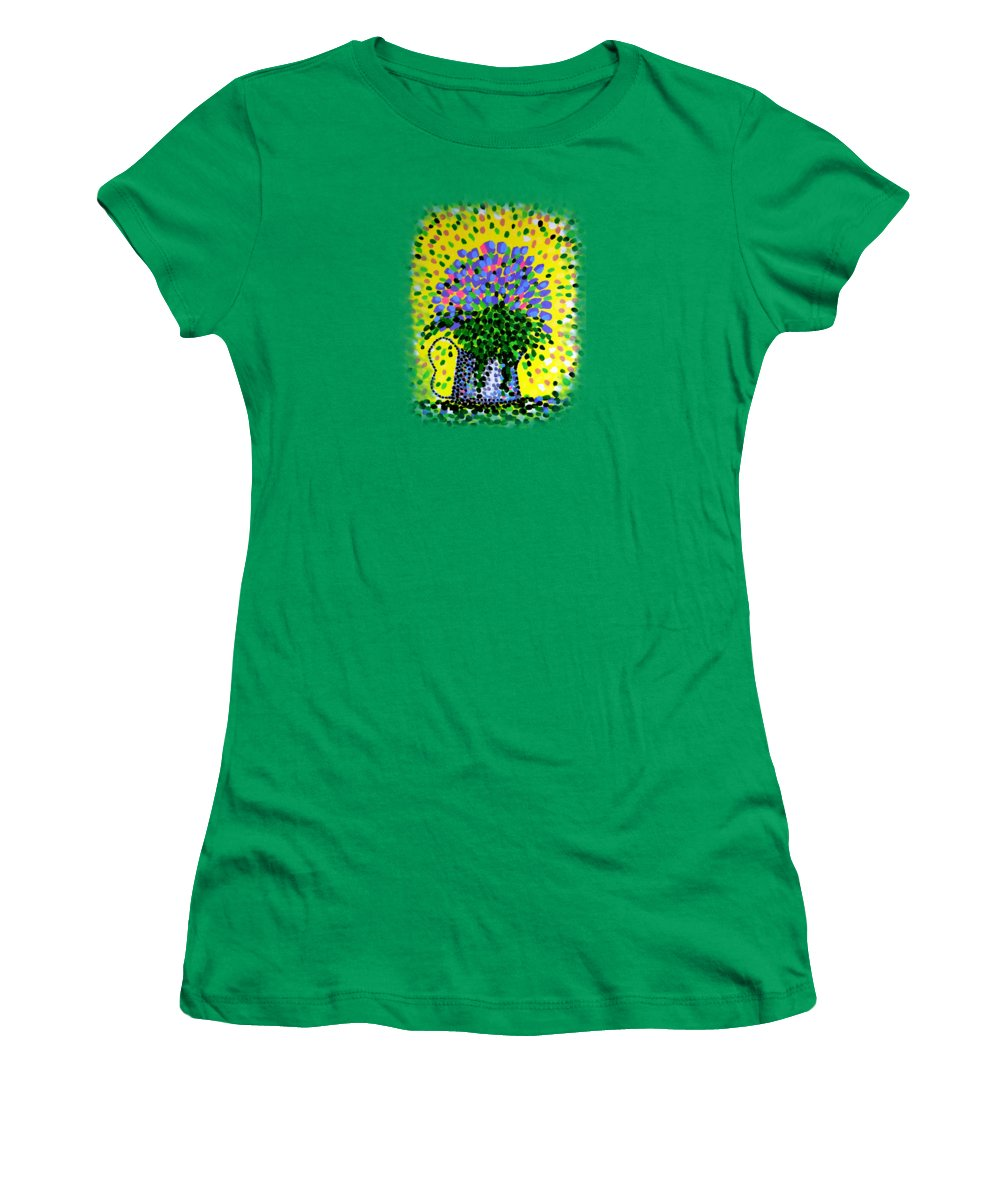 Flowers Women's T-Shirt (Athletic Fit) featuring the painting Explosive Flowers by Alan Hogan