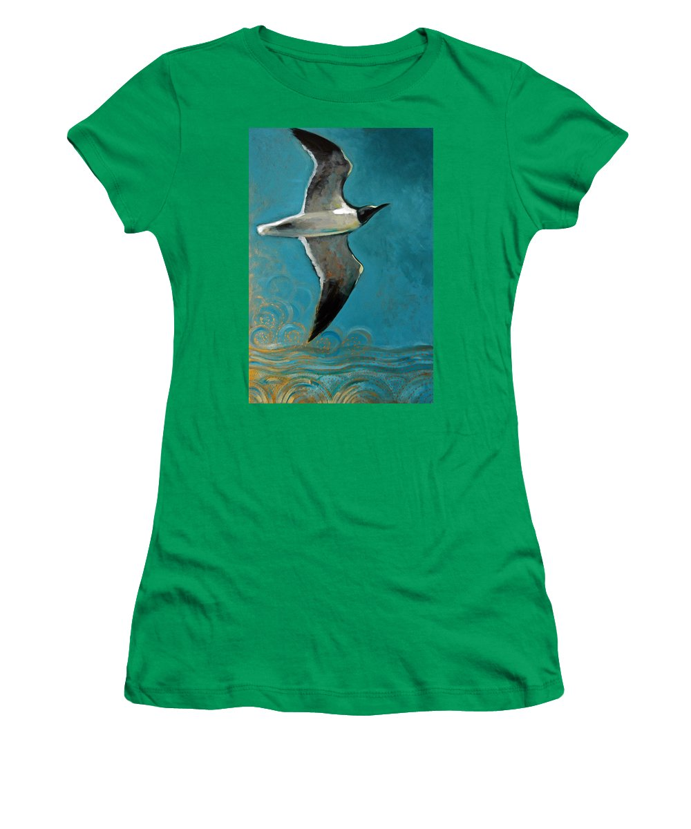 Acrylic Women's T-Shirt featuring the painting Flying Free by Suzanne McKee