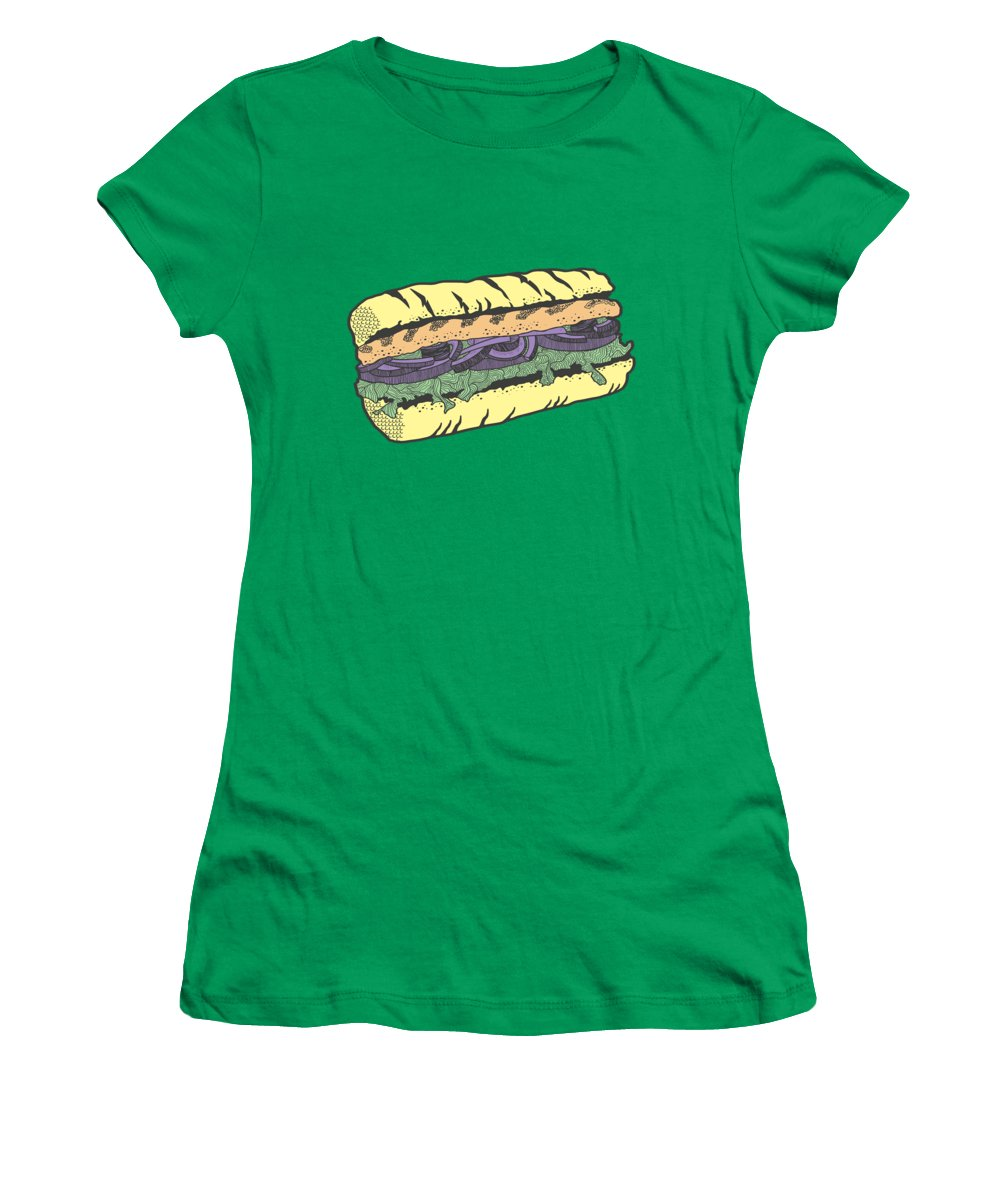 Sandwich Women's T-Shirt featuring the drawing Food Masquerade by Freshinkstain