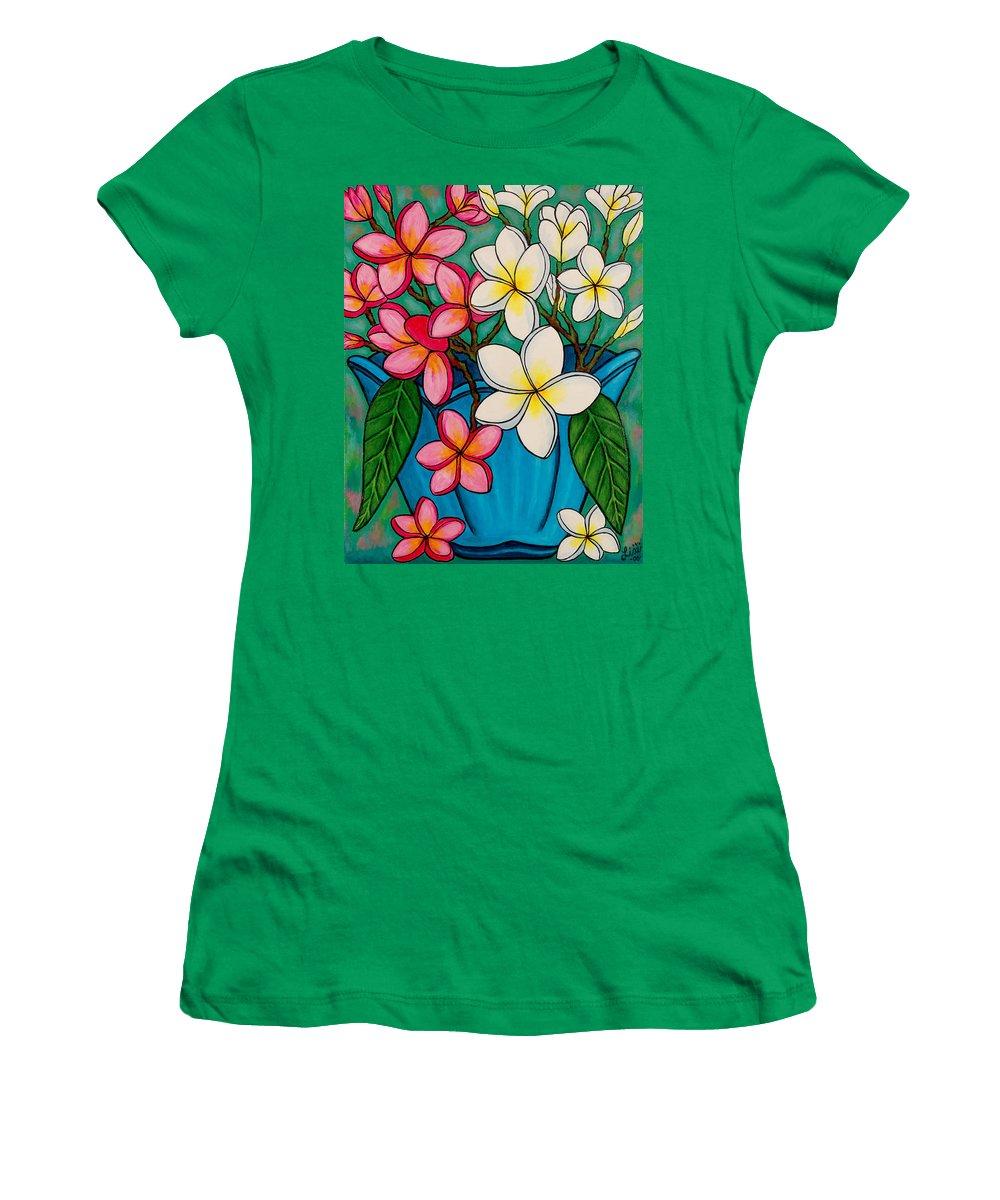 Frangipani Women's T-Shirt featuring the painting Frangipani Sawadee by Lisa Lorenz