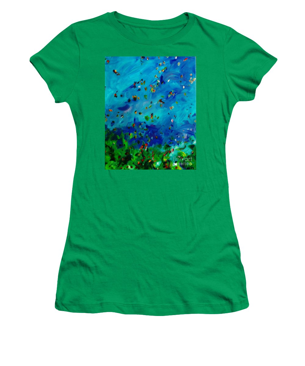 Landscape Women's T-Shirt (Athletic Fit) featuring the painting Freelancing by Reina Resto