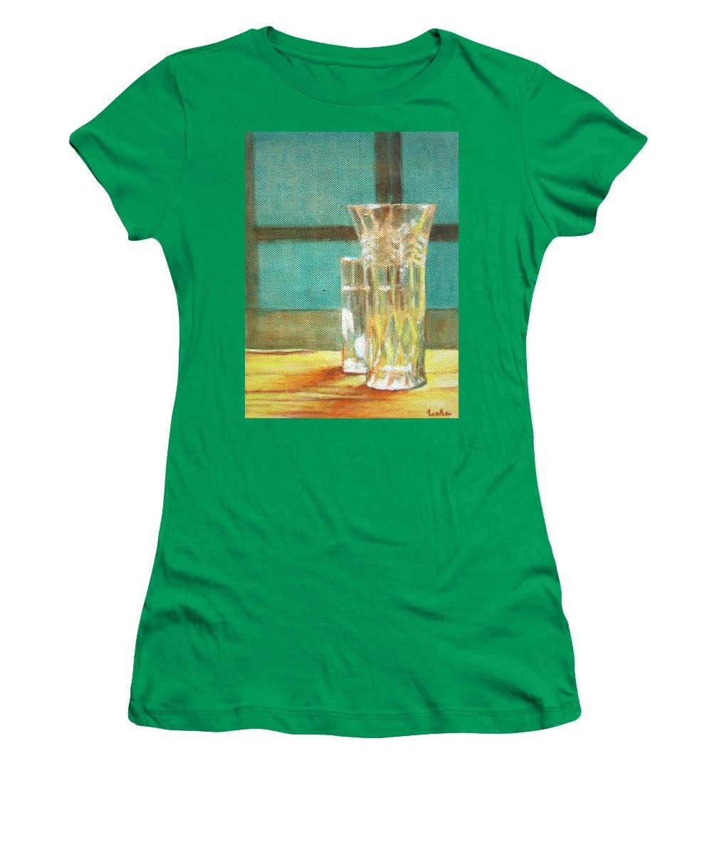 Glass Women's T-Shirt featuring the painting Glass Vase - Still Life by Usha Shantharam
