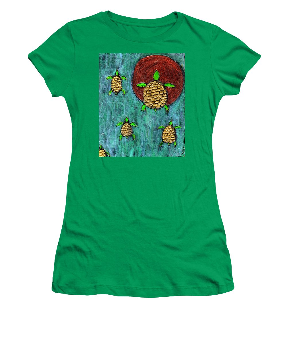 Sea Turtle Women's T-Shirt (Athletic Fit) featuring the painting Going Home by Wayne Potrafka