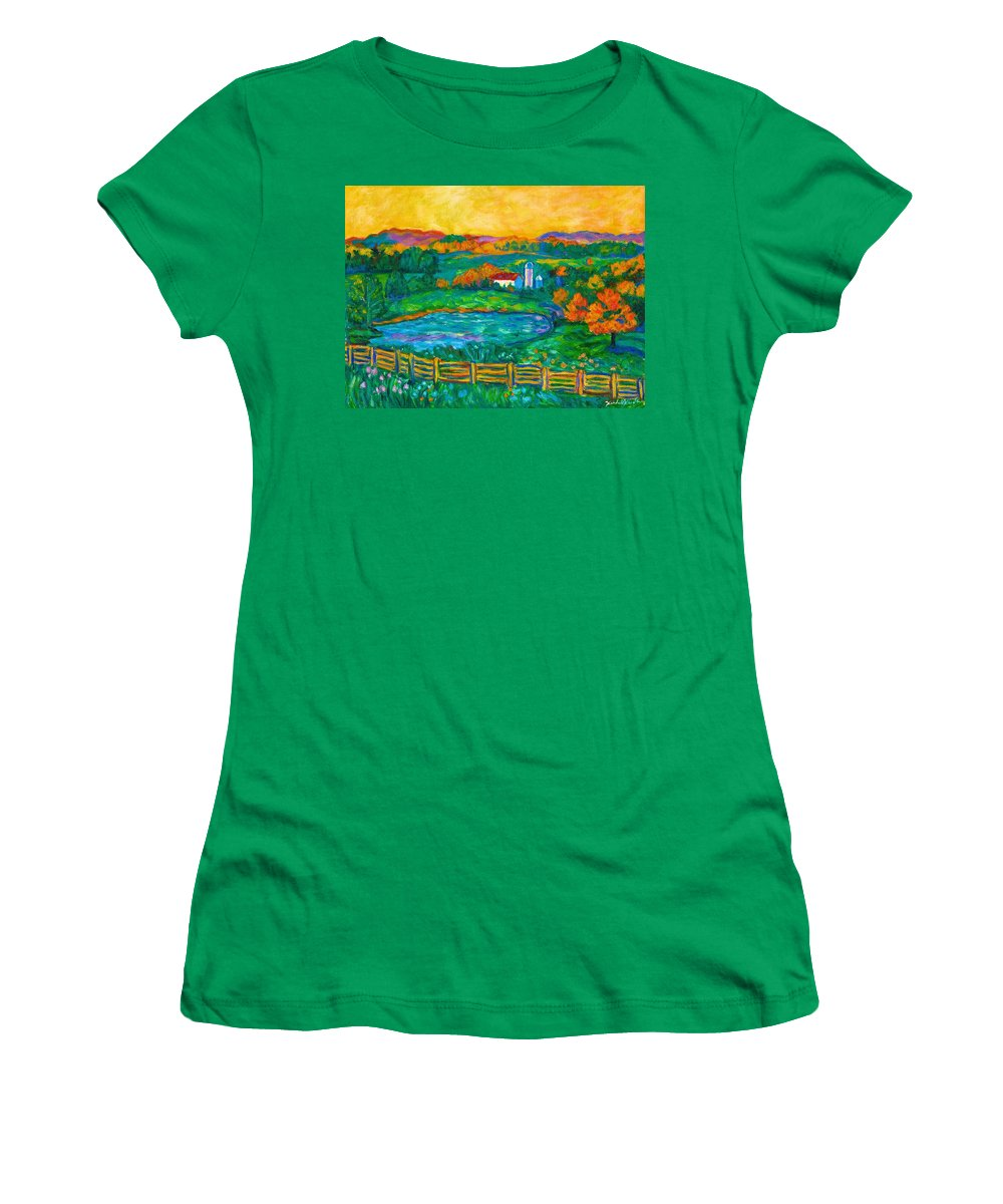 Landscape Women's T-Shirt (Athletic Fit) featuring the painting Golden Farm Scene Sketch by Kendall Kessler