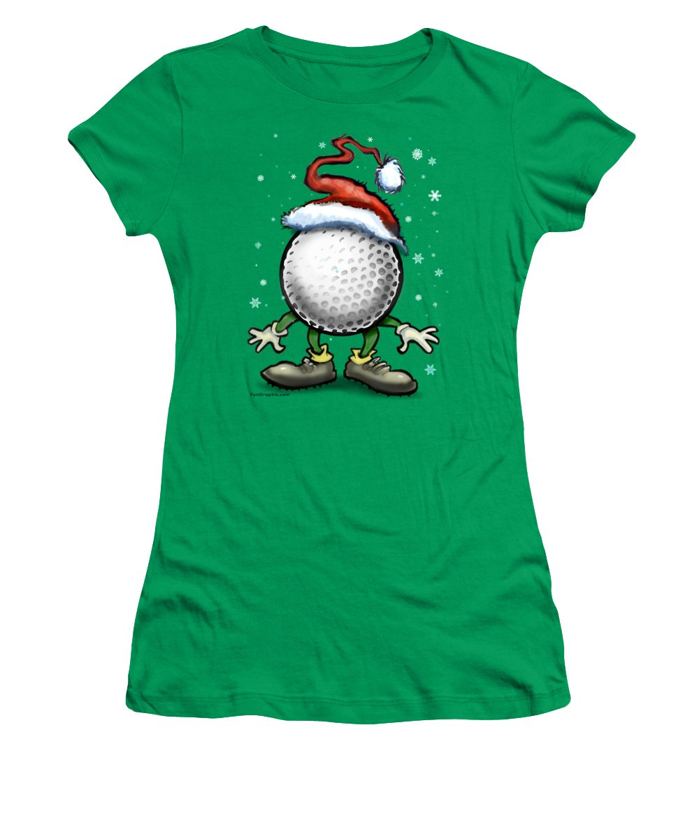 Golf Women's T-Shirt featuring the digital art Golf Christmas by Kevin Middleton