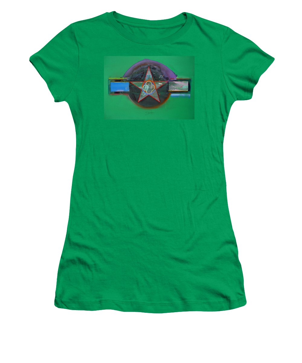 Star Women's T-Shirt (Athletic Fit) featuring the painting Green And Violet by Charles Stuart