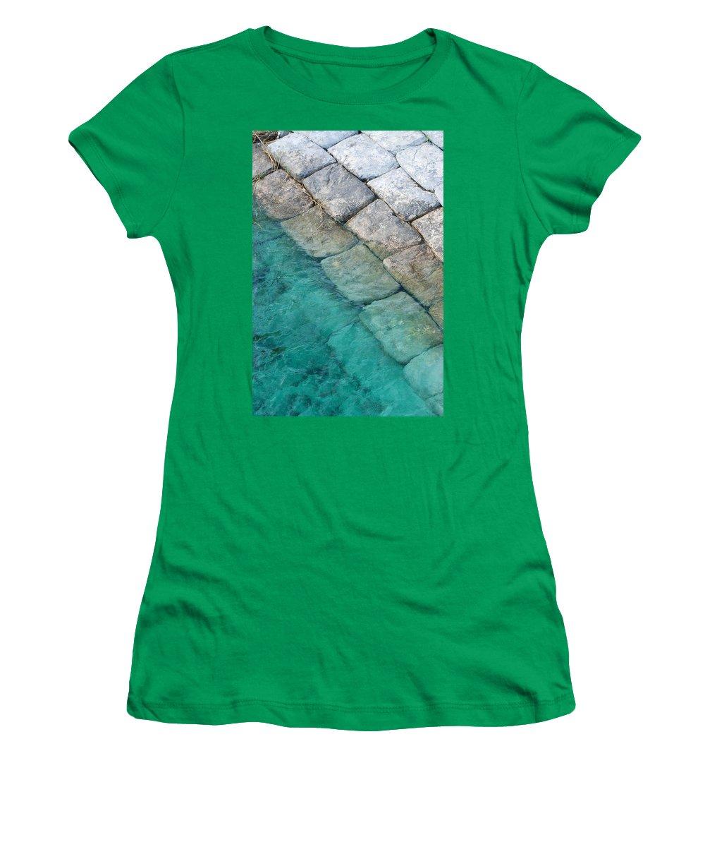 Water Blocks Bricks Women's T-Shirt featuring the photograph Green Water Blocks by Rob Hans