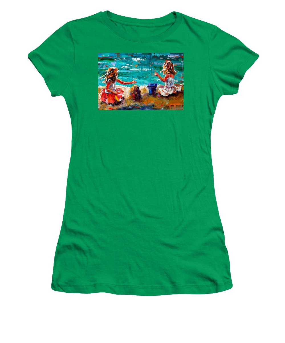 Seascape Women's T-Shirt (Athletic Fit) featuring the painting Her Blue Bucket by Debra Hurd