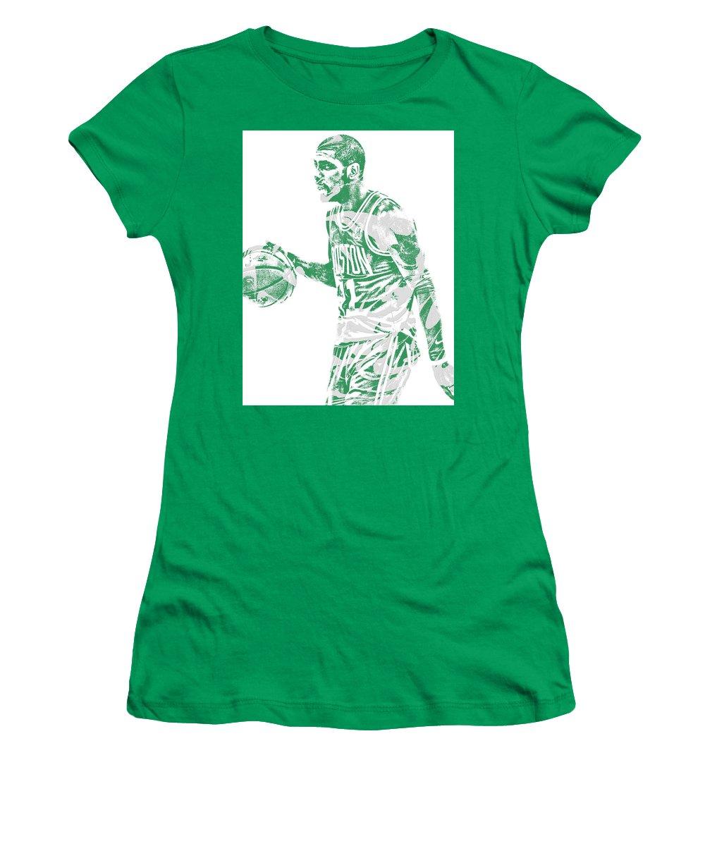 Kyrie Irving Women's T-Shirt featuring the mixed media Kyrie Irving Boston Celtics Pixel Art 40 by Joe Hamilton