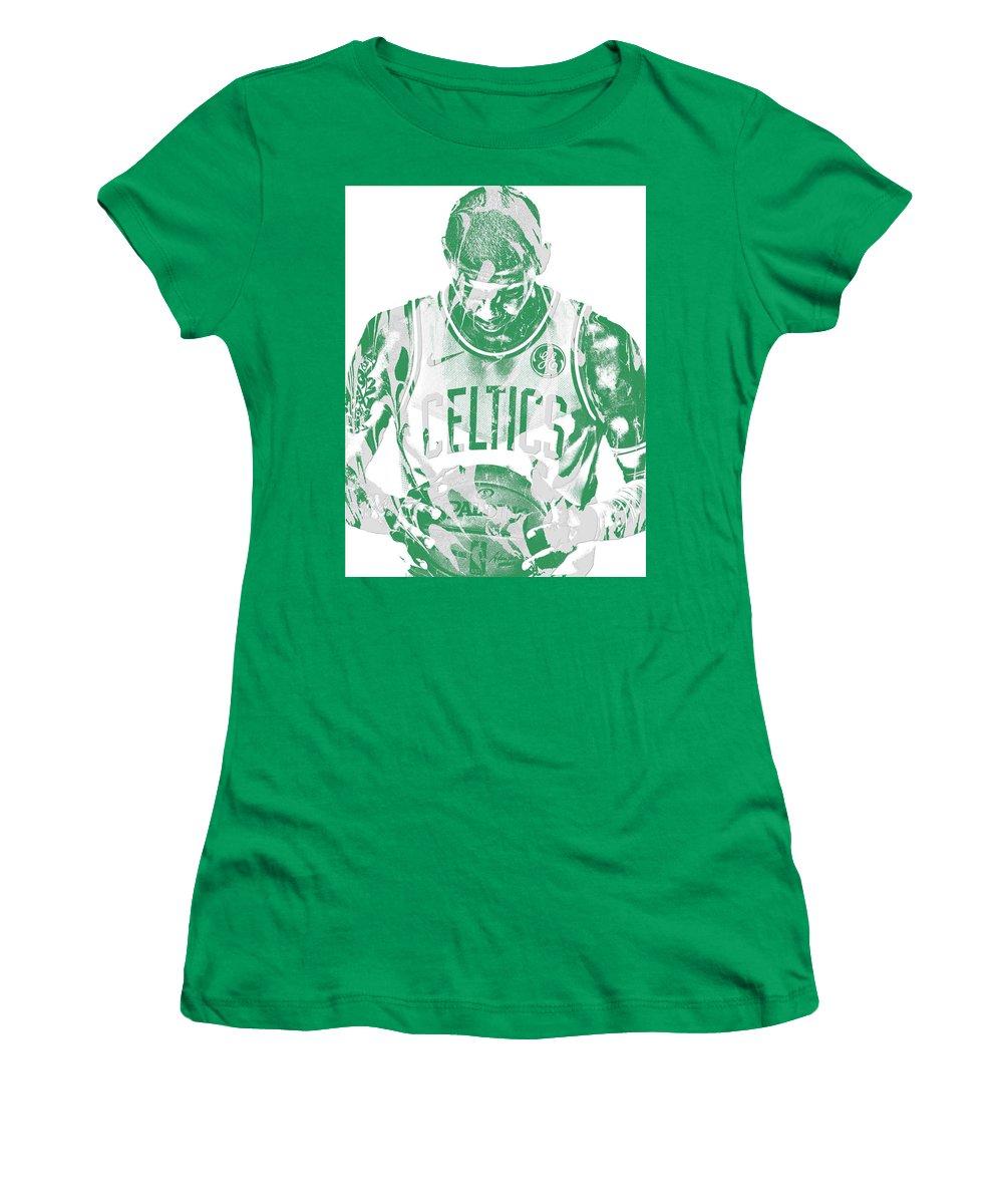 Kyrie Irving Women's T-Shirt featuring the mixed media Kyrie Irving Boston Celtics Pixel Art 5 by Joe Hamilton