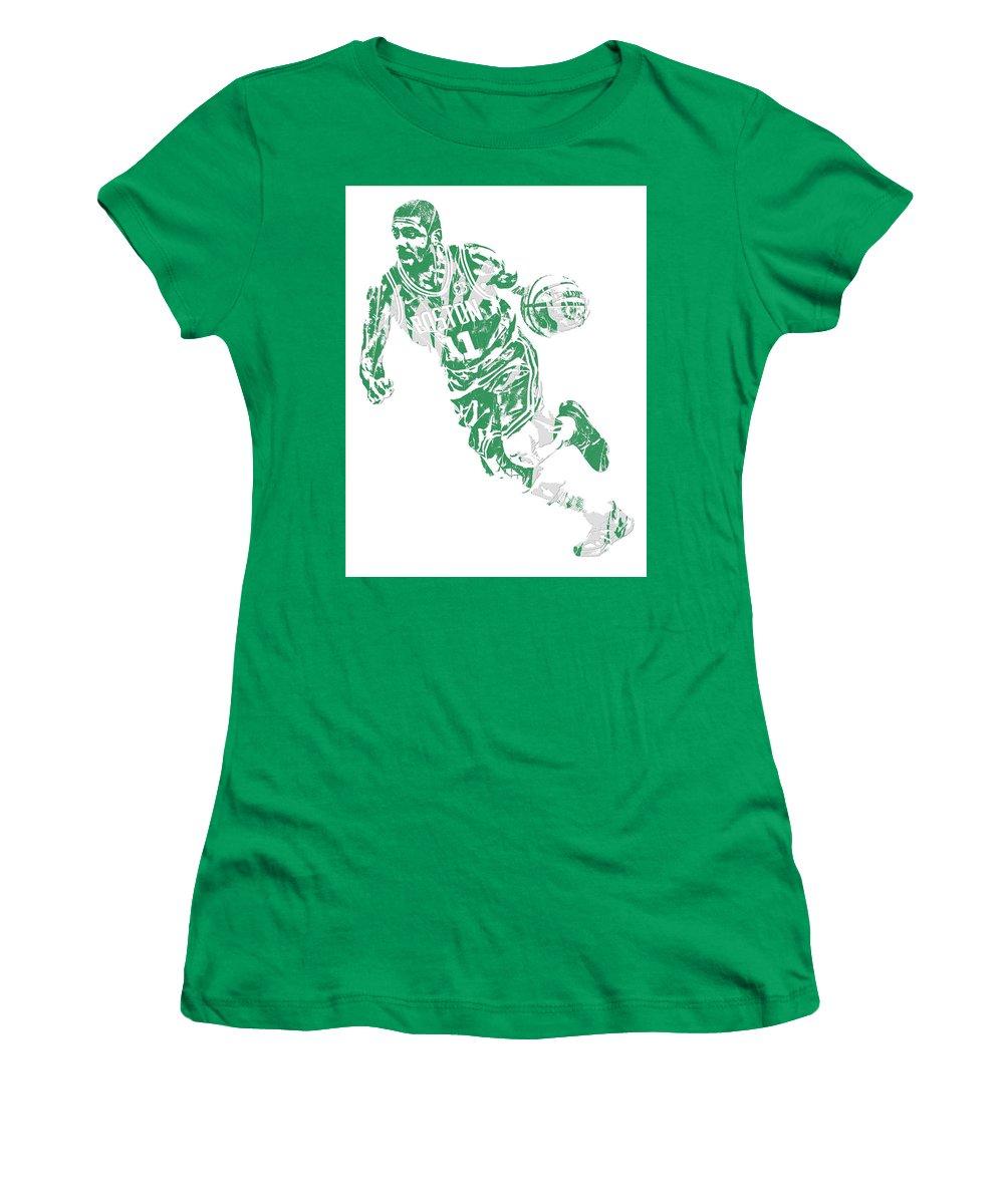 Kyrie Irving Women's T-Shirt featuring the mixed media Kyrie Irving Boston Celtics Pixel Art 9 by Joe Hamilton