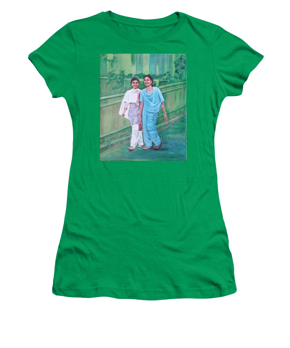 Women's T-Shirt (Athletic Fit) featuring the painting Laughing Girls by Usha Shantharam