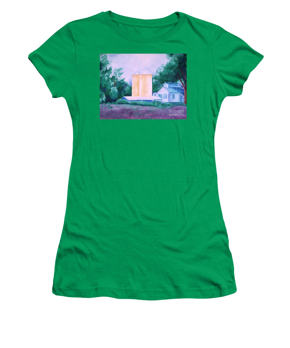 Western Women's T-Shirt (Athletic Fit) featuring the painting Lavender Farm Albuquerque by Eric Schiabor