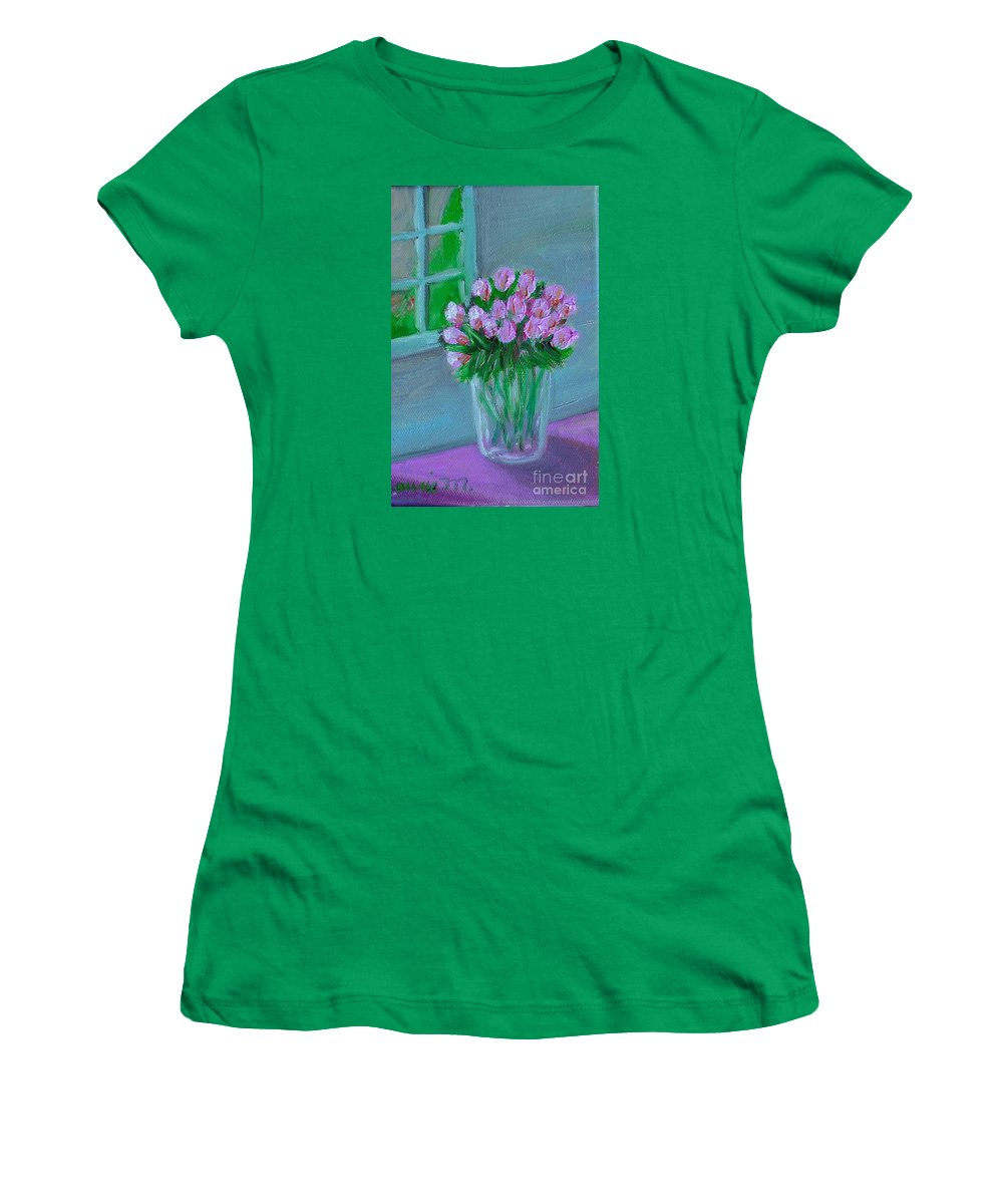 Rose Women's T-Shirt (Athletic Fit) featuring the painting Leslie's Roses by Laurie Morgan