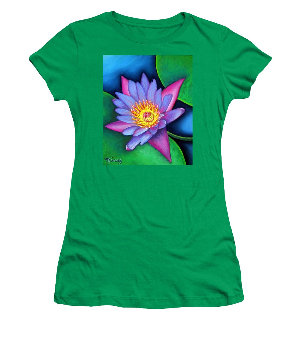 Flower Women's T-Shirt (Athletic Fit) featuring the painting Lotus Divine by Minaz Jantz