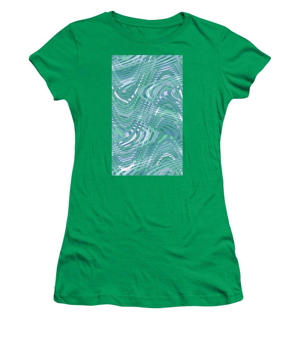 Moveonart! Digital Gallery Lower Nob Hill San Francisco California Jacob Kanduch Women's T-Shirt (Athletic Fit) featuring the digital art Moveonart Traveling Green 1 by Jacob Kanduch