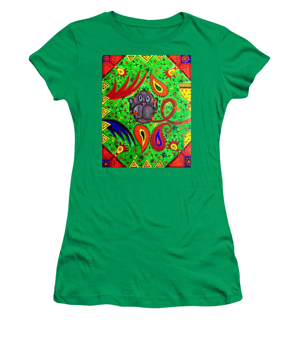 Fantasy Folk Art Women's T-Shirt (Athletic Fit) featuring the painting Mun Moji-hookah Monkey by Fareeha Khawaja
