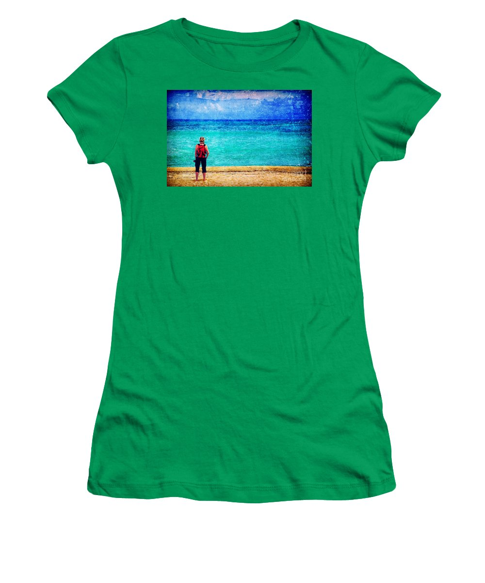 Sea Women's T-Shirt featuring the photograph My Thoughts Are Like Sea Waves by Silvia Ganora