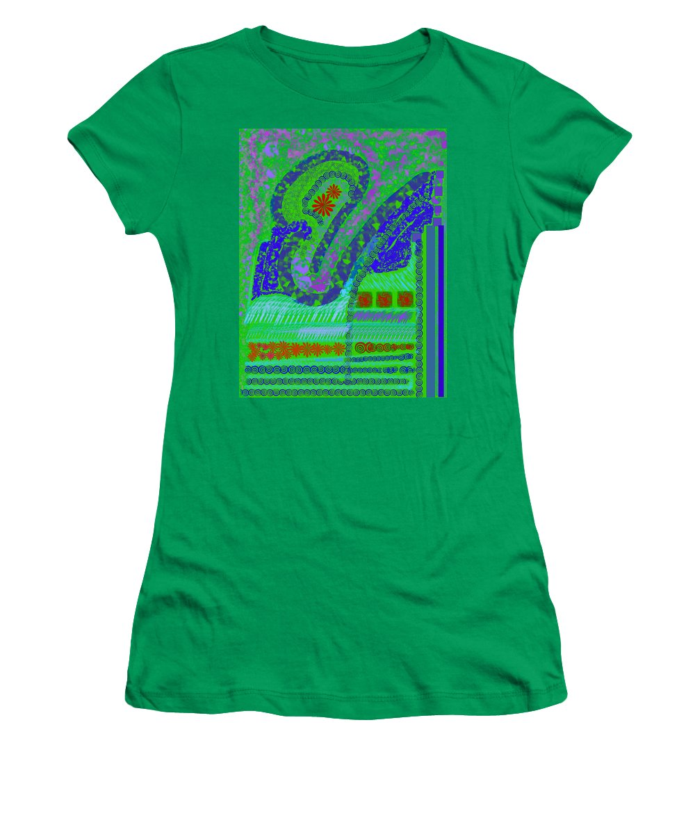 Abstract Colors Fabricdesign Blues Greens Women's T-Shirt featuring the digital art My Yard 3 by Suzanne Udell Levinger
