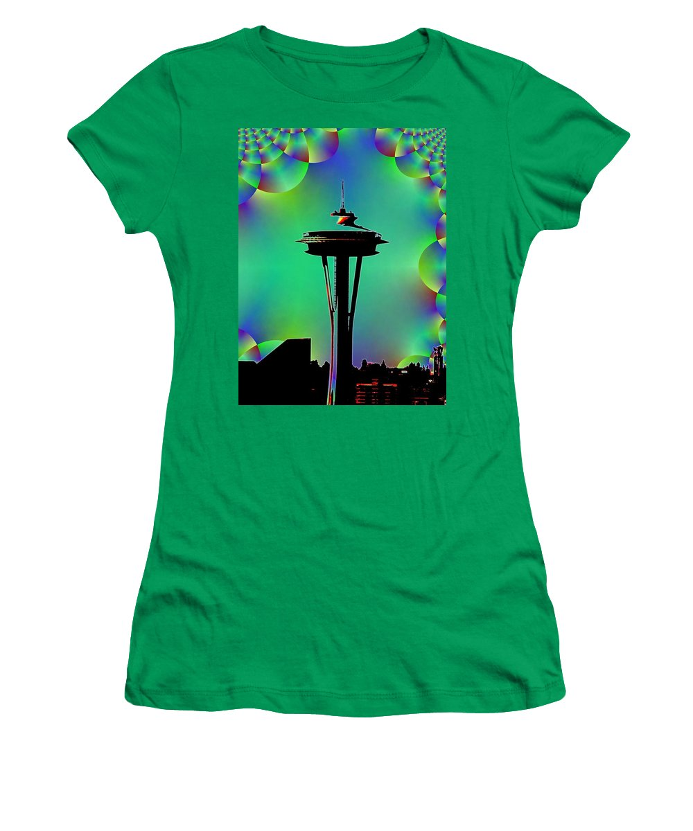 Seattle Women's T-Shirt (Athletic Fit) featuring the digital art Needle In Fractal 3 by Tim Allen