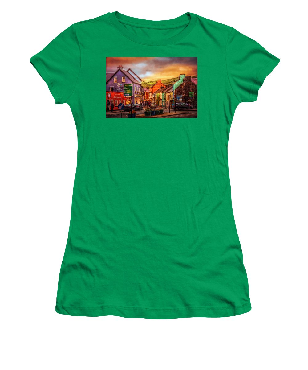 Barn Women's T-Shirt (Athletic Fit) featuring the photograph Old Irish Town The Dingle Peninsula Late Sunset by Debra and Dave Vanderlaan