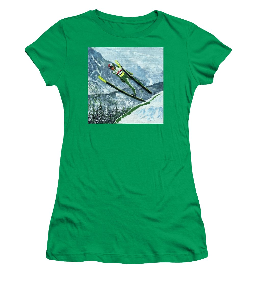 Green Women's T-Shirt featuring the painting Olympic Ski Jumper by ML McCormick