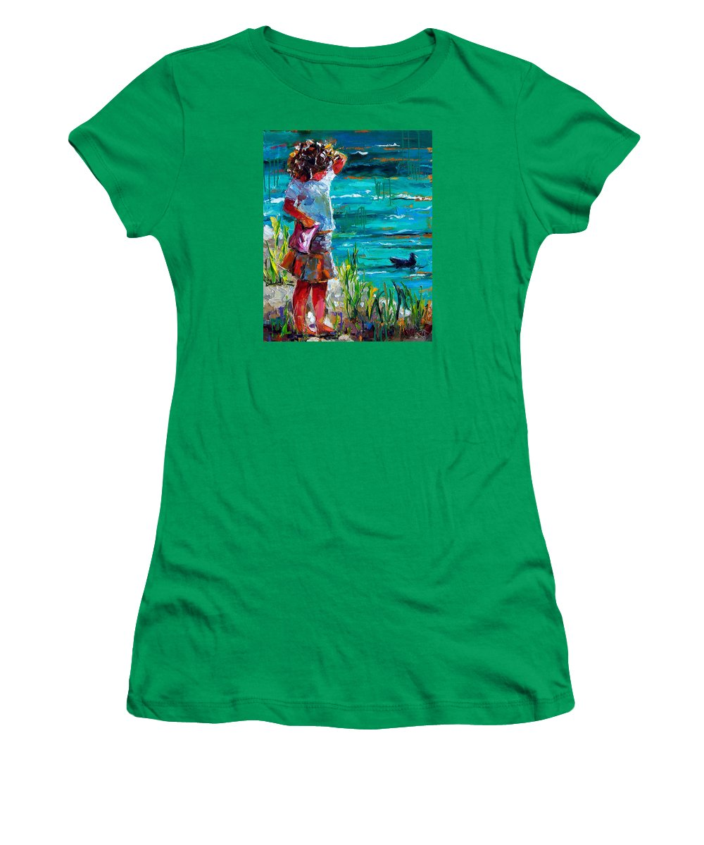 Children Women's T-Shirt (Athletic Fit) featuring the painting One Lucky Duck by Debra Hurd