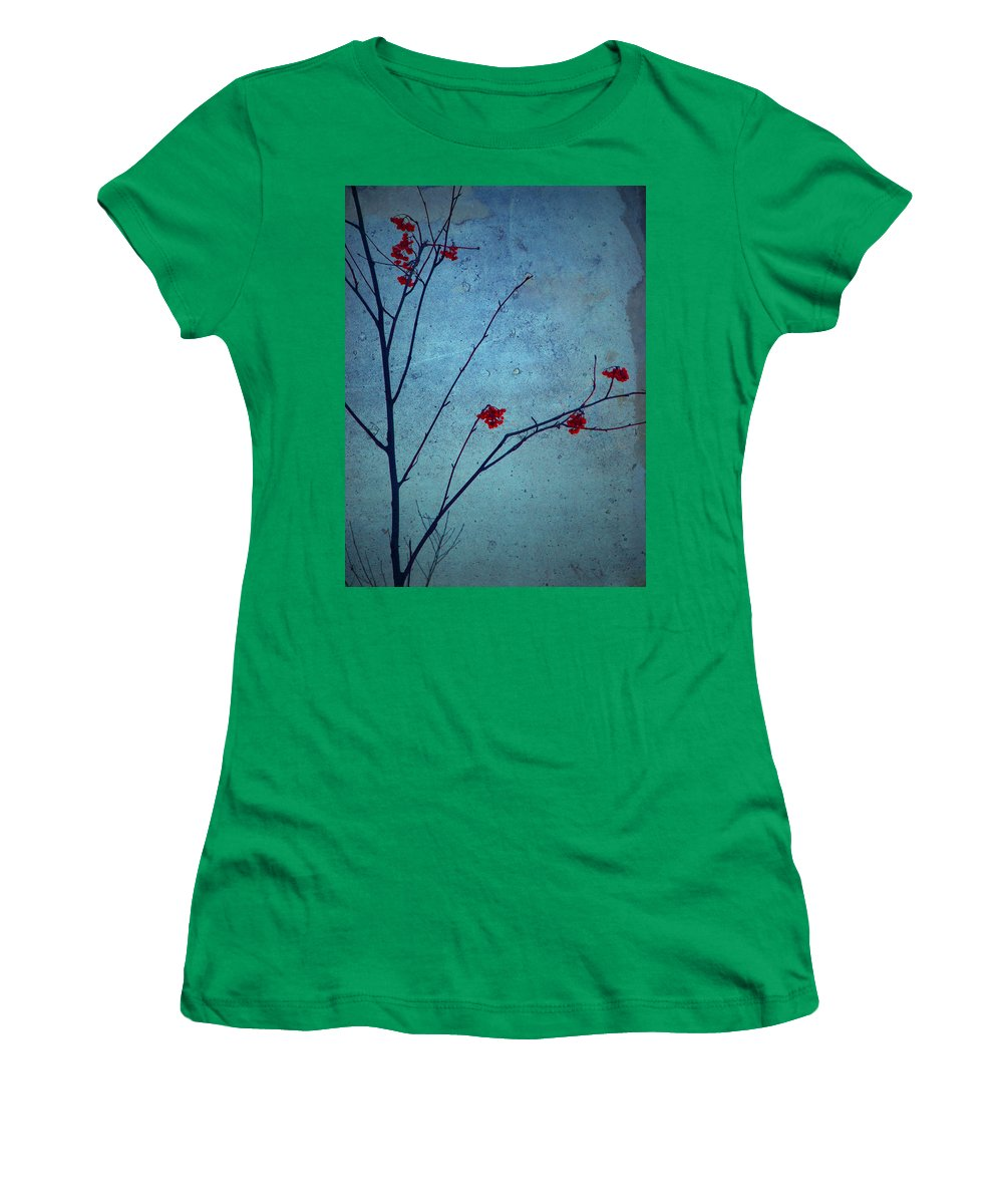 Simplicity Women's T-Shirt featuring the photograph Red Berries Blue Sky by Tara Turner