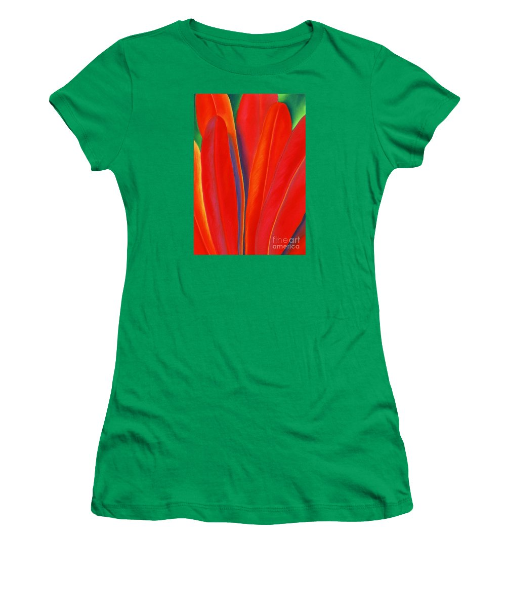 Red Women's T-Shirt (Junior Cut) featuring the painting Red Petals by Lucy Arnold